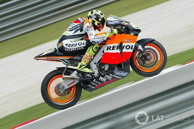 """<b>#7</b> 357 - Valentino Rossi, 2003 (MotoGP) <span class=""""copyright"""">Gold and Goose / Motorsport Images</span>"""