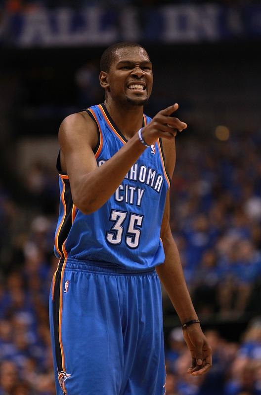 DALLAS, TX - MAY 03:  Kevin Durant #35 of the Oklahoma City Thunder reacts against the Dallas Mavericks during Game Three of the Western Conference Quarterfinal at American Airlines Center on May 3, 2012 in Dallas, Texas.  NOTE TO USER: User expressly acknowledges and agrees that, by downloading and or using this photograph, User is consenting to the terms and conditions of the Getty Images License Agreement.  (Photo by Ronald Martinez/Getty Images)