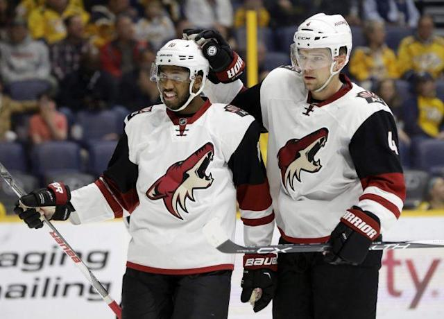 """<a class=""""link rapid-noclick-resp"""" href=""""/nhl/teams/ari/"""" data-ylk=""""slk:Arizona Coyotes"""">Arizona Coyotes</a> left wing <a class=""""link rapid-noclick-resp"""" href=""""/nhl/players/6060/"""" data-ylk=""""slk:Anthony Duclair"""">Anthony Duclair</a> found himself with an unexpected proposal on his hands recently. (Mark Humphrey/AP)"""