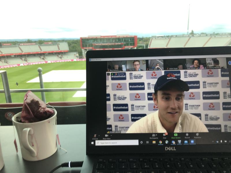 Stuart Broad takes a post-match interview on Zoom