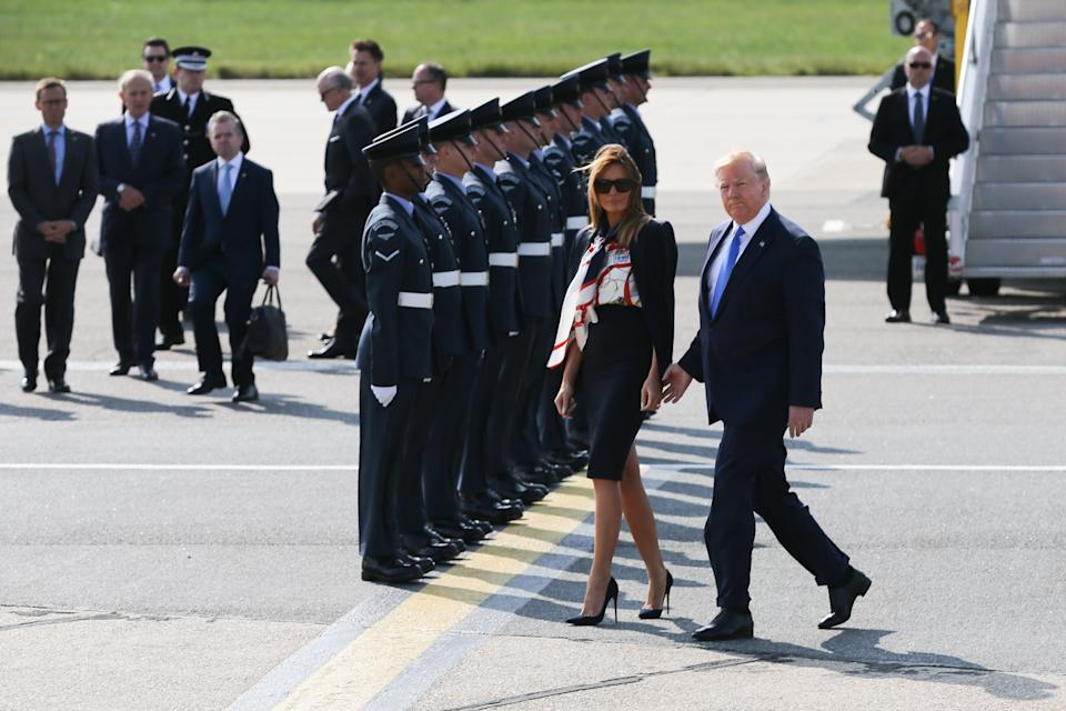 Melania Trump wore sky high stilettos to depart the plane at Stansted. [Photo: Getty]