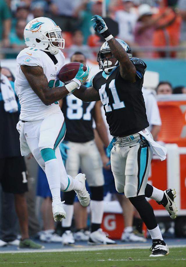 Miami Dolphins wide receiver Mike Wallace (11) grabs a pass over Carolina Panthers cornerback Captain Munnerlyn (41) during the first half of an NFL football game, Sunday, Nov. 24, 2013, in Miami Gardens, Fla. (AP Photo/J Pat Carter)