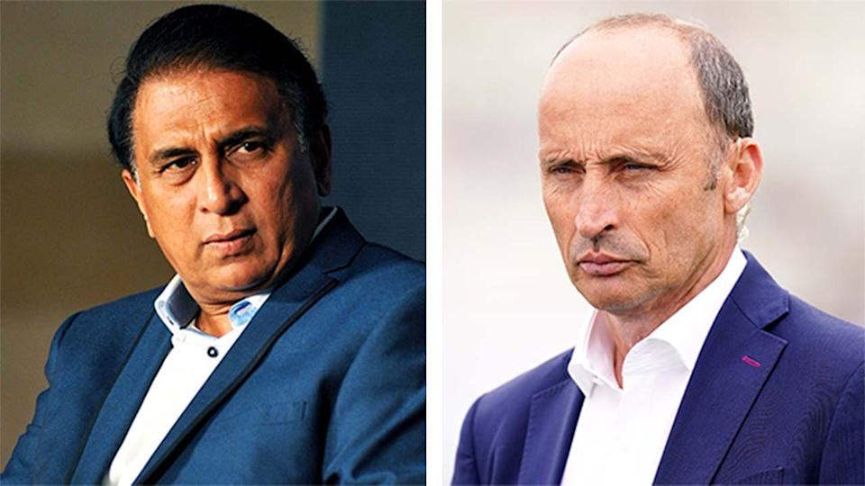 Naser Hussain (pictured right) during commentary and Sunil Gavaskar (pictured left) at a media conference.