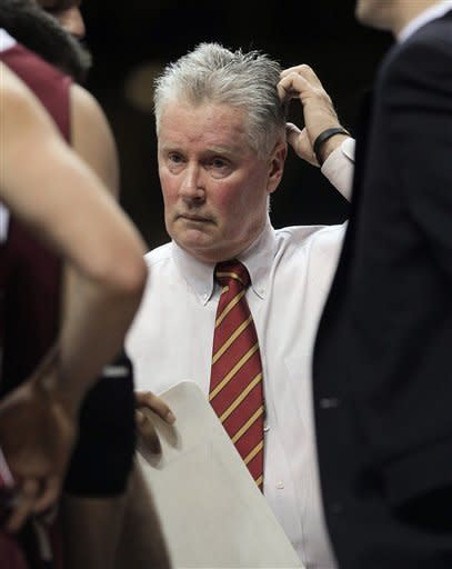Lafayette coach Fran O'Hanlon gets ready to talk to his team during a timeout in the first half of an NCAA college basketball game against Vanderbilt on Wednesday, Dec. 21, 2011, in Nashville, Tenn. (AP Photo/Mark Humphrey)