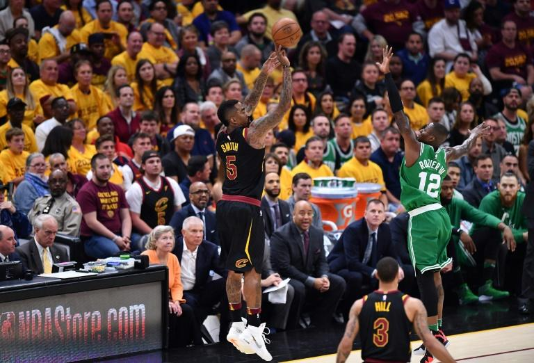 JR Smith of the Cleveland Cavaliers shoots against Terry Rozier of the Boston Celtics during game four of the Eastern Conference Finals