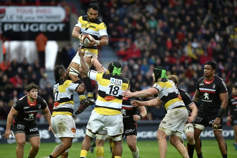 La Rochelle's New Zealand prop Victor Vito catches the ball in a line out during the French Top 14 rugby match Stade Toulousain versus La Rochelle on March 5, 2017 at the Ernest Wallon Stadium in Toulouse, southern France