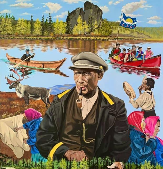 This painting celebrates the 100th anniversary signing of Treaty 11. Painted by Darrell Chocolate, it depicts Chief Monfwi, who signed Treaty 11, and scenes of the Tłı̨chǫ way of life during the last 100 years. (Submitted by Darrell Chocolate - image credit)