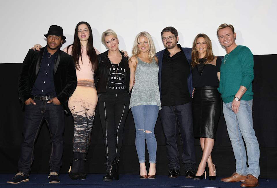 S Club 7 (left to right) Bradley McIntosh, Tina Barrett, Jo O'Meara, Hannah Spearritt, Paul Cattermole, Rachel Stevens and Jon Lee during a photocall to announce the 2015 'Bring It All Back' arena tour, at The Ham Yard Hotel in Soho, London.