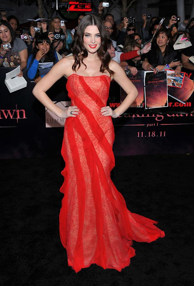 "Ashley Greene arrives at the red carpet premiere for ""The Twilight Saga: Breaking Dawn – Part 1"" in Los Angeles, CA. (Photo by Vince Bucci/Yahoo!)"