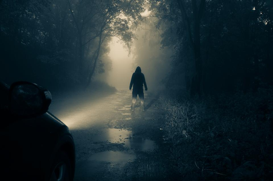 A lone, hooded figure standing in front of a car looking at an empty misty country road silhouetted at night by car headlights