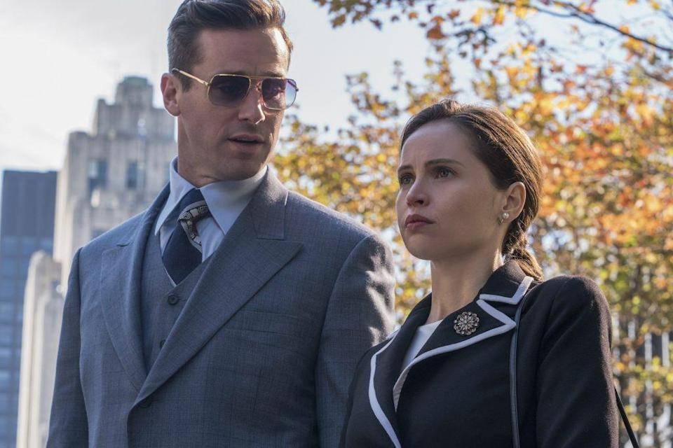 Armie Hammer plays Marty Ginsburg opposite Felicity Jones as Ruth Bader Ginsburg in On the Basis of Sex