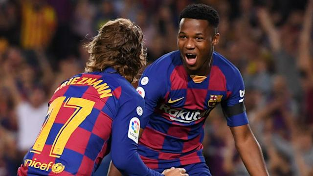 Ansu Fati got a goal and an assist in the first seven minutes of his full Barcelona debut and Spain are now interested in his future.