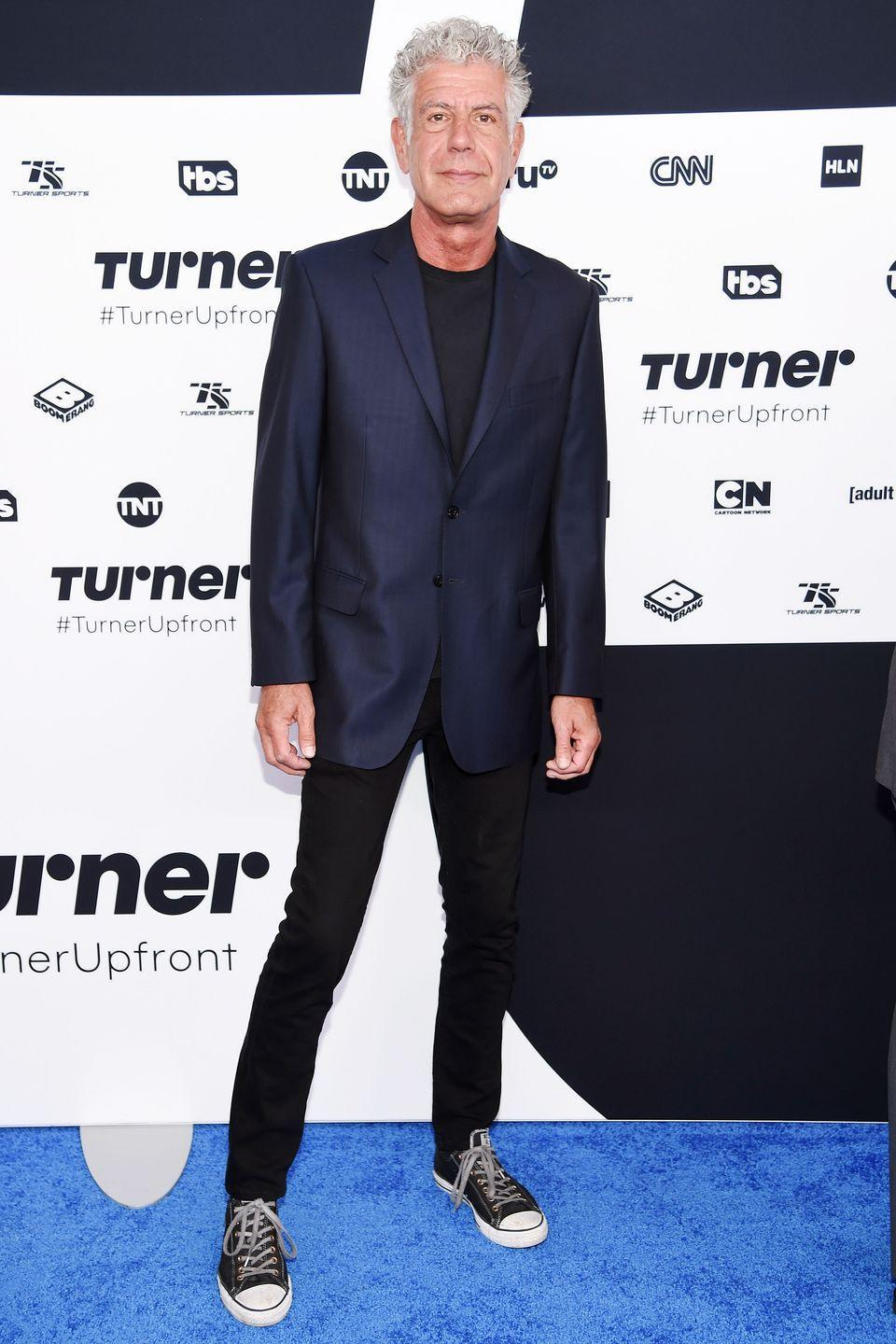 <p>Bourdain attends the Turner Upfront 2017 presentation—where Turner-owned networks like CNN show off their upcoming series to advertisers—on May 17, 2017 in New York. </p>