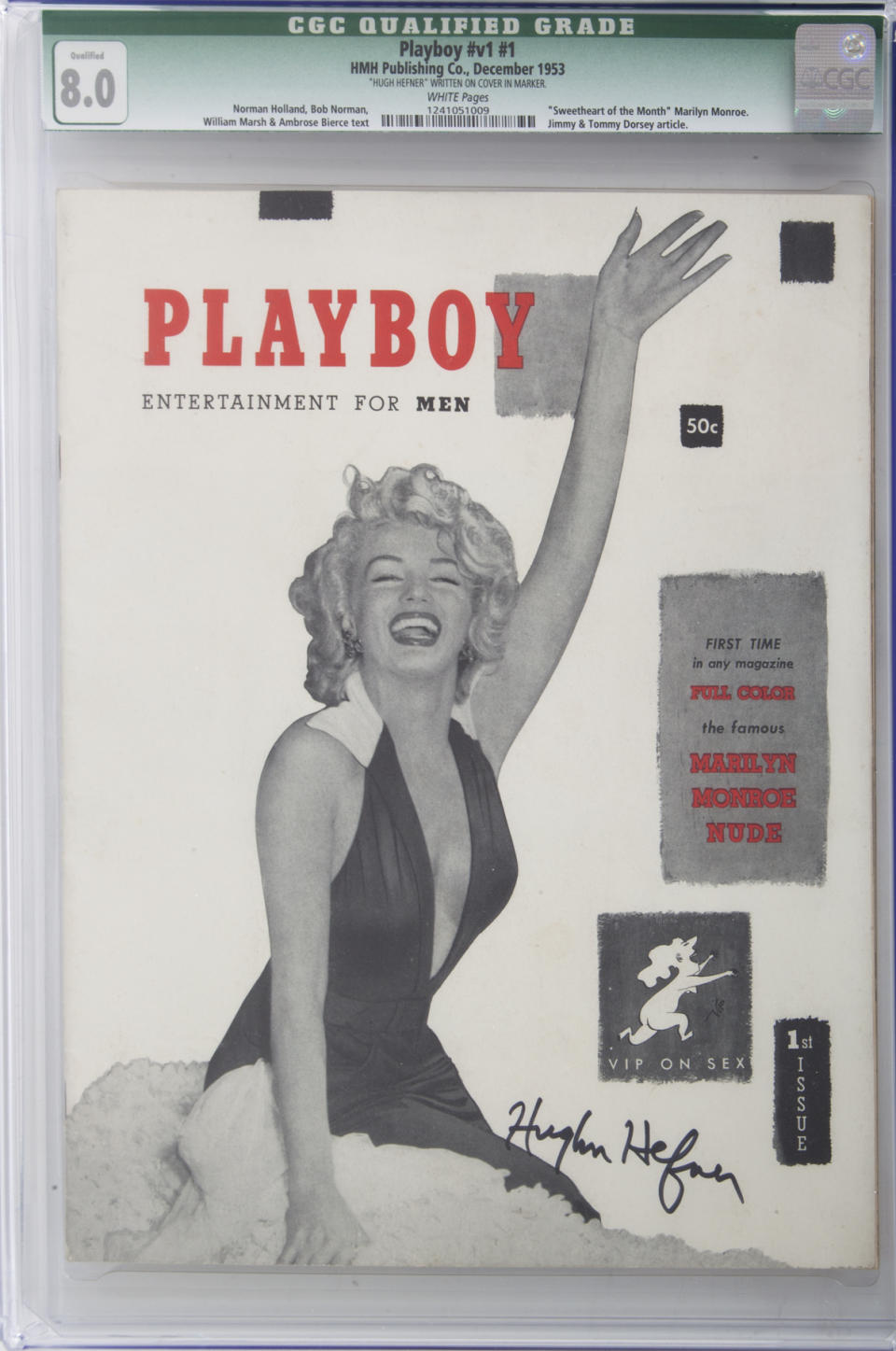 Playboy magazine signed by Hugh Hefner