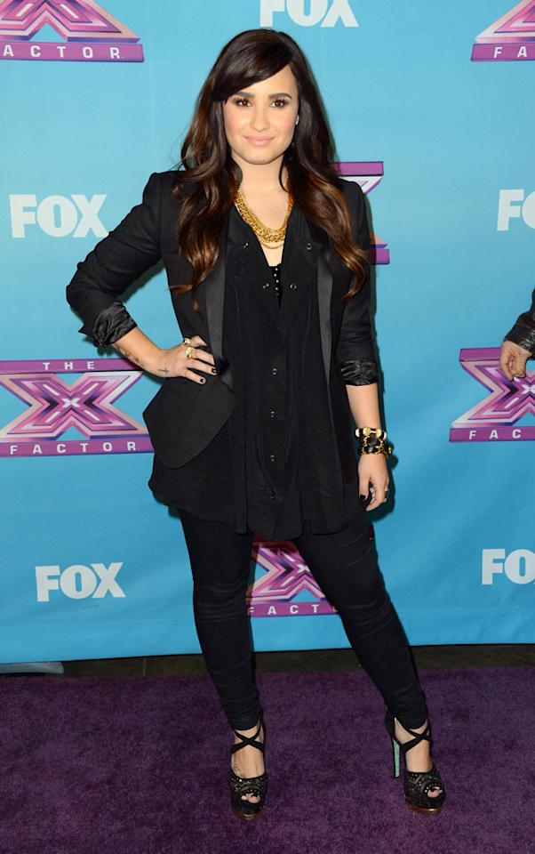 "Demi Lovato arrives at Fox's ""The X Factor"" Season Finale Night 1 at CBS Televison City on December 19, 2012 in Los Angeles, California."