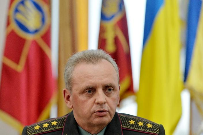 Head of Staff of the Ukrainian Army, colonel-general Viktor Muzhenko, speaks during a press conference in Kiev on May 18, 2015 (AFP Photo/Genya Savilov)