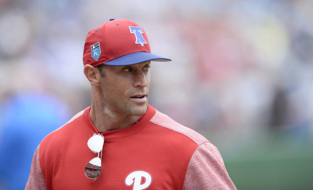 Philadelphia Phillies manager Gabe Kapler (22) before a spring training baseball game against the Tampa Bay Rays Saturday, March 10, 2018, in Clearwater, Fla. (AP Photo/Jason Behnken)