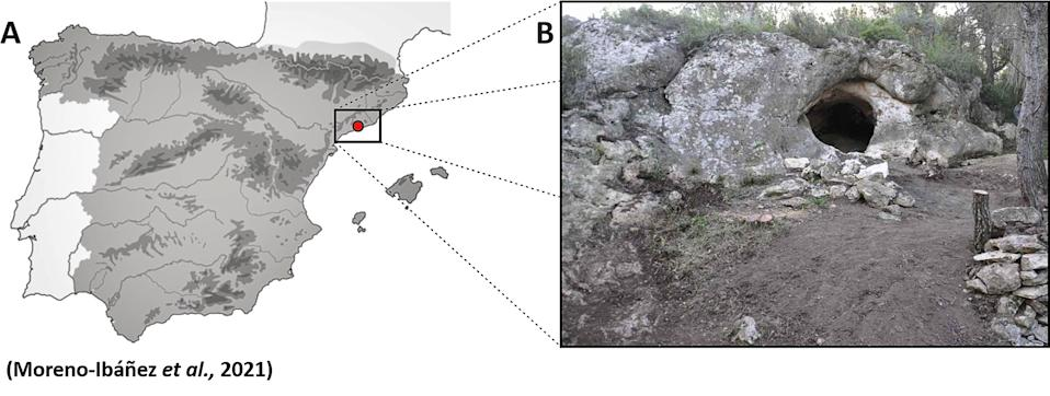 Location of Cova Foradada in the Iberian Peninsula and exterior view from the lower entrance. Source: Real Press/Australscope