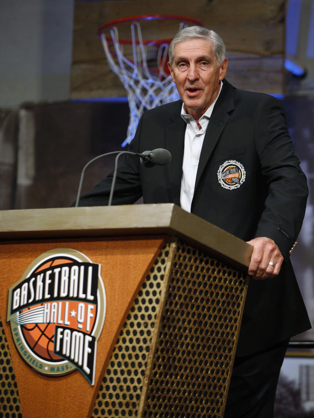 FILE - In this Sept. 11, 2009, file photo, Utah Jazz head coach Jerry Sloan makes a statement during a media availability before his enshrinement in the Basketball Hall of Fame in Springfield, Mass. The Utah Jazz have announced that Jerry Sloan, the coach who took them to the NBA Finals in 1997 and 1998 on his way to a spot in the Basketball Hall of Fame, has died. Sloan died Friday morning, May 22, 2020, the Jazz said, from complications related to Parkinsons disease and Lewy body dementia. He was 78. (AP Photo/Stephan Savoia, File)