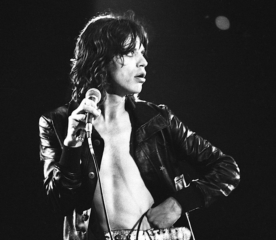<p>Mick Jagger performs with the Rolling Stones at The San Antonio Convention Center, Texas, 6th March 1975.</p>