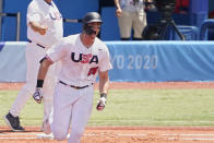 United States' Triston Casas (26) shouts as he rounds first base after hitting a home run in the first inning of a baseball game against the Dominican Republic at the 2020 Summer Olympics, Wednesday, Aug. 4, 2021, in Yokohama, Japan. (AP Photo/Sue Ogrocki)