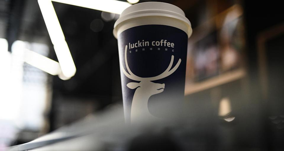 Picture of a cup of coffee at a Luckin Coffee on January 14, 2019. - When Starbucks came to China two decades ago it promised to open a new store every 15 hours. Now a homegrown rival, Luckin Coffee, plans to build a high tech-driven shop every three and a half hours to dethrone the US giant. The Chinese upstart is burning through millions of dollars to lure customers with steep discounts, challenging Starbucks' dominance by targeting office workers and students who prefer to have their java on-the-go or delivered to their doorstep. (Photo by FRED DUFOUR / AFP) (Photo credit should read FRED DUFOUR/AFP/Getty Images)