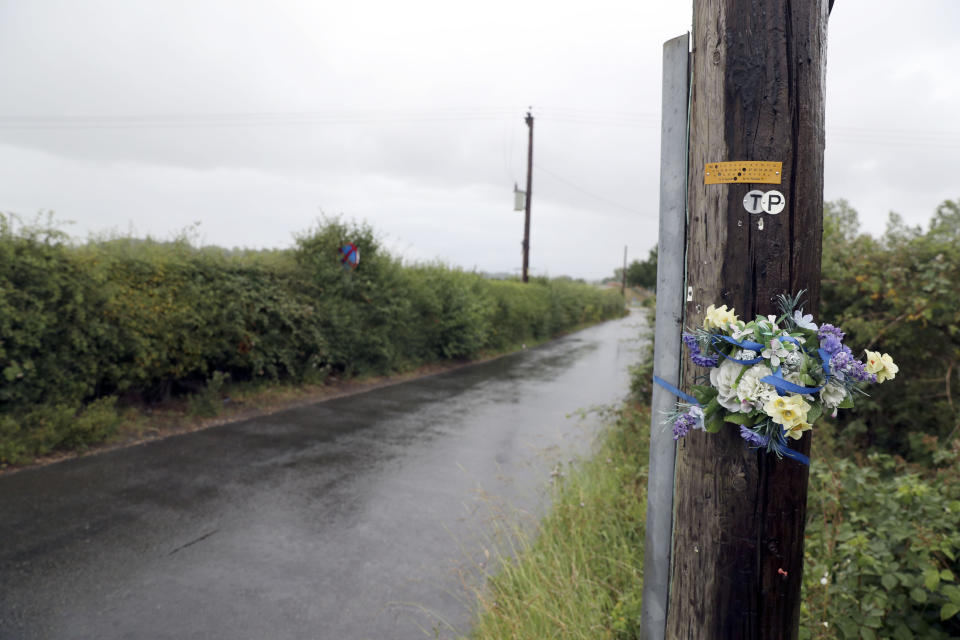 Tributes left in Ufton Lane near Sulhamstead, Berkshire, where PC Andrew Harper died in August 2019.