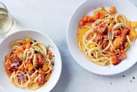 """There's something special about lobster you've prepared yourself, but if cooking one on a weeknight isn't your speed, buy cooked lobster or shrimp instead. <a href=""""https://www.epicurious.com/recipes/food/views/spicy-lobster-pasta-51241830?mbid=synd_yahoo_rss"""" rel=""""nofollow noopener"""" target=""""_blank"""" data-ylk=""""slk:See recipe."""" class=""""link rapid-noclick-resp"""">See recipe.</a>"""