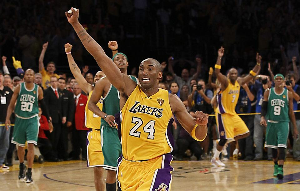 Kobe Bryant and the Lakers celebrate after their Game 7 victory over the Boston Celtics in the 2010 NBA Finals.