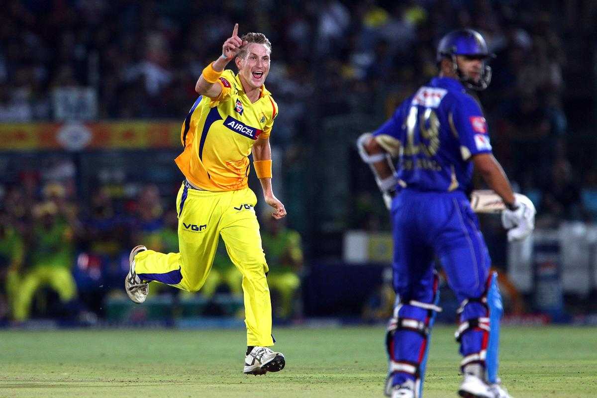 Chris Morris celebrates the wicket of Rahul Dravid during match 61 of the Pepsi Indian Premier League ( IPL) 2013  between The Rajasthan Royals and the Chennai Super Kings held at the Sawai Mansingh Stadium in Jaipur on the 12th May 2013. (BCCI)