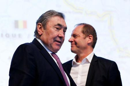 Former Belgian cycling champion Eddy Merckx and Tour de France director Christian Prudhomme attend the presentation of the Grand Depart of the 2019 Tour de France cycling race in Brussels, Belgium, January 16, 2018. REUTERS/Francois Lenoir