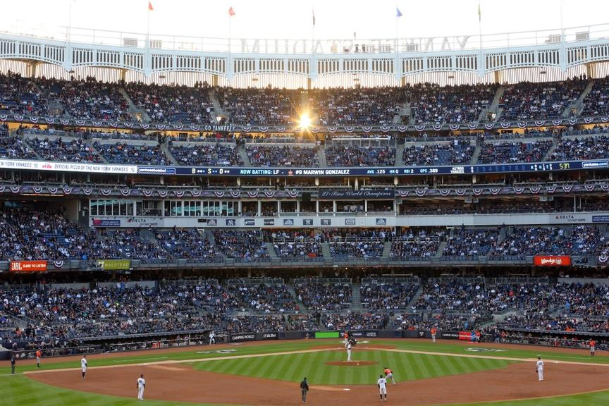 A general view of Yankee Stadium from the outfield
