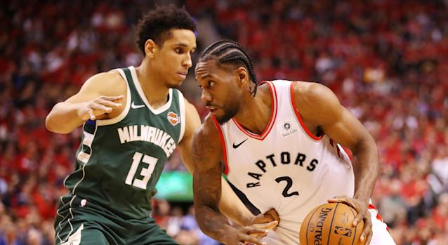 Toronto's Kawhi Leonard had fans concerned during Game 4 of the Eastern Conference finals against the Milwaukee Bucks on Tuesday night. (Photo by Gregory Shamus/Getty Images)