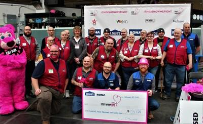 Lowe's Canada ended its 12th Hair Massacure campaign today with the unveiling of a cheque in the amount of $103,124. The funds raised this year will go to Children's Wish Foundation of Canada. (CNW Group/Lowe's Canada)