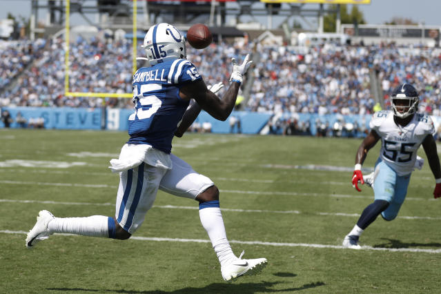 Indianapolis Colts wide receiver Parris Campbell (15) catches a touchdown pass ahead of Tennessee Titans inside linebacker Jayon Brown (55) in the first half of an NFL football game Sunday, Sept. 15, 2019, in Nashville, Tenn. (AP Photo/Wade Payne)