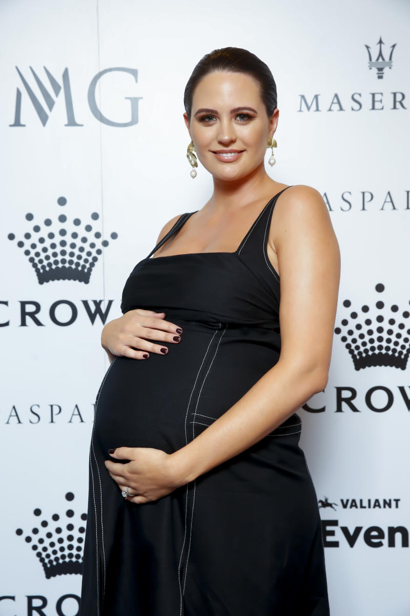 MELBOURNE, AUSTRALIA - JANUARY 19: Jesinta Franklin attends the Crown IMG Tennis Party on January 19, 2020 in Melbourne, Australia. (Photo by Sam Tabone/Getty Images)