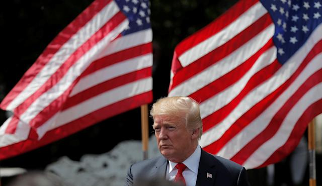 """U.S. President Donald Trump participates in a """"celebration of America"""" event on the South Lawn of the White House in Washington, U.S., June 5, 2018. The event was arranged after Trump canceled the planned visit of the Super Bowl champion Philadelphia Eagles to the White House. REUTERS/Carlos Barria"""