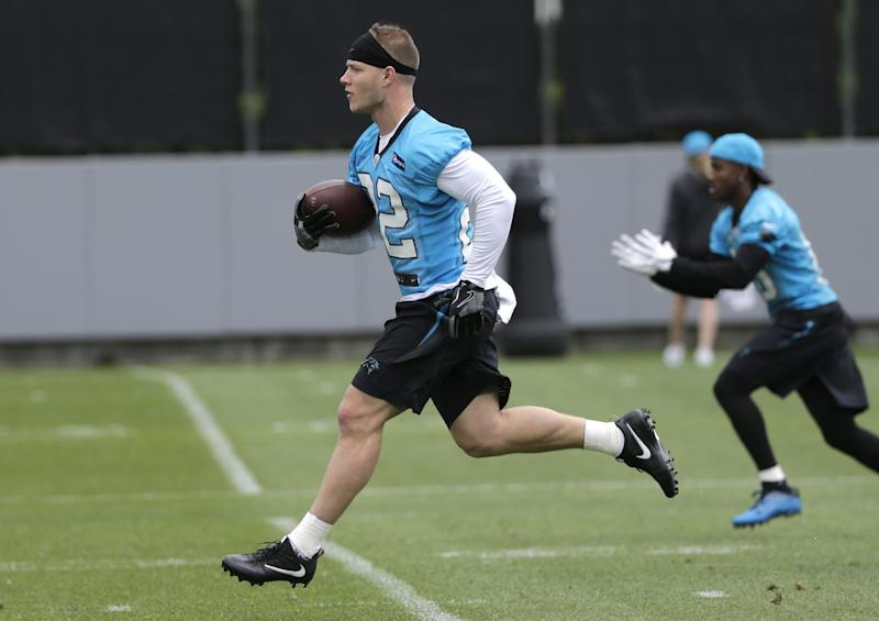 Christian McCaffrey is off to a good start at his first NFL training camp. (AP)
