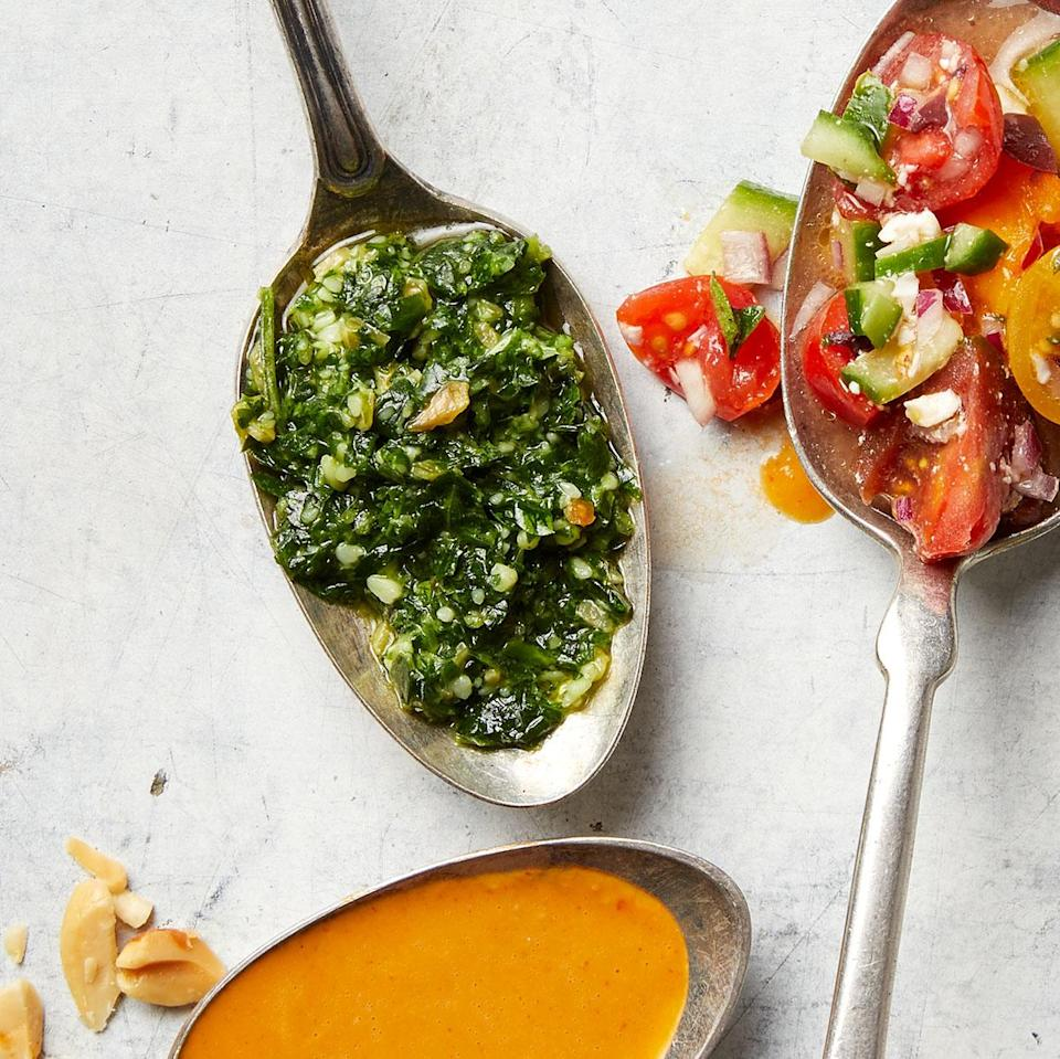 <p>Cilantro and pepitas make an interesting alternative to basil and pine nuts in a simple pesto. Stir this cilantro pesto into a grain bowl or serve with chicken or fish.</p>