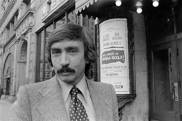 "<p>Edward Albee was one of the most influential American playrights of his era. He died on September 16 at the age of 88 — (Pictured) Playwright Edward Albee, who is director of his own ""Who's Afraid of Virginia Wolf?"", stands outside Boston's Colonial Theater in 1976. (AP Photo/John J.Mullins) </p>"