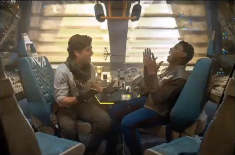 Poe and Finn share a moment on their epic journey in 'Star Wars: The Rise of Skywalker' (Photo: Walt Disney/YouTube)
