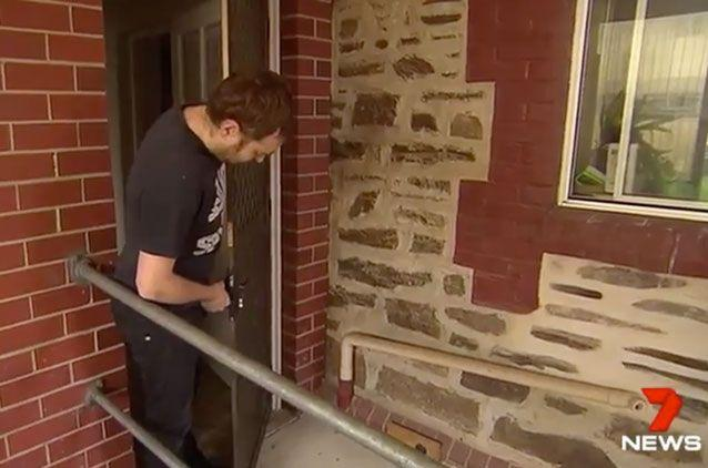 The backdoor where the intruder got in. Source: 7 News