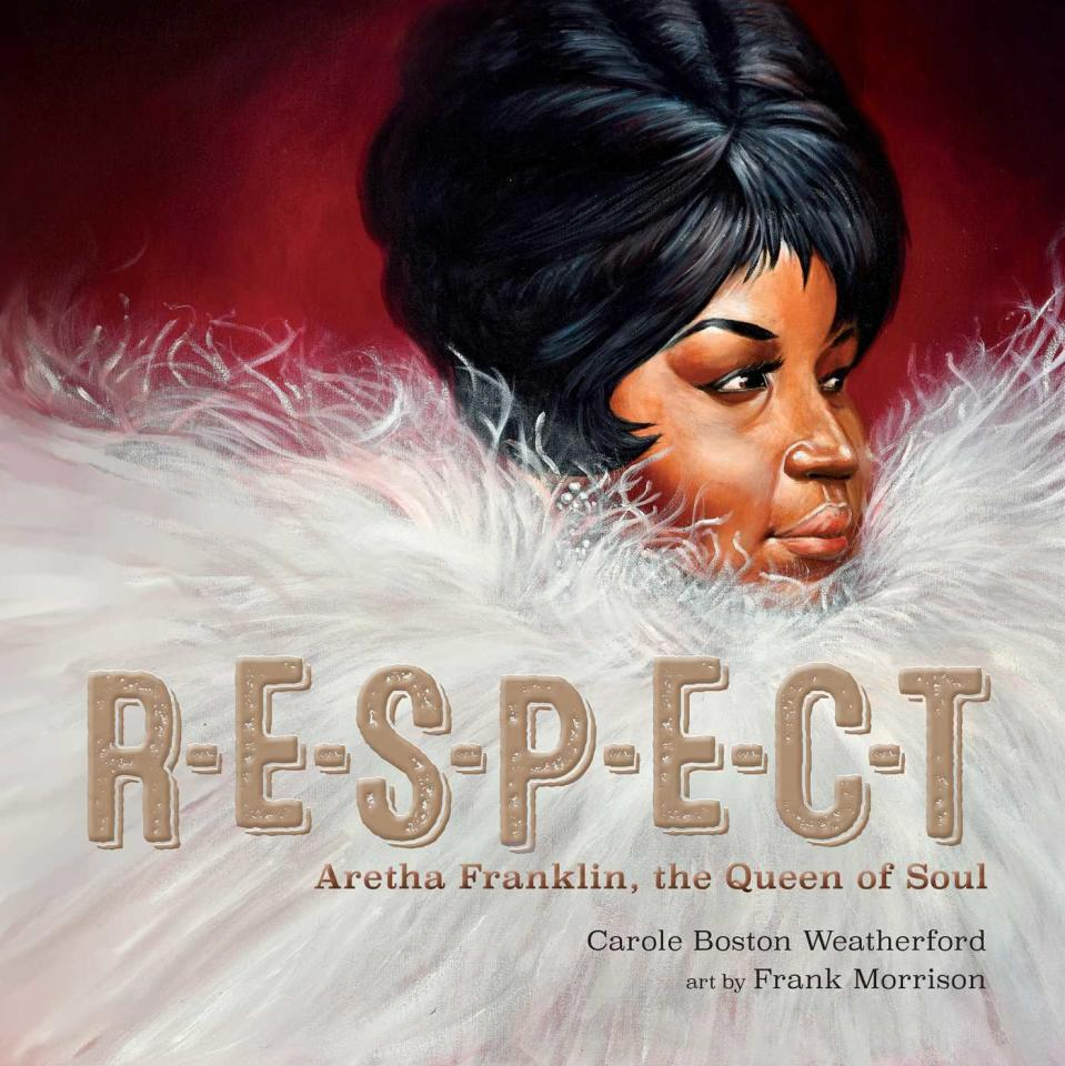 "This cover image released by Simon & Schuster Children's Publishing shows ""R-E-S-P-E-C-T: Aretha Franklin, the Queen of Soul"" by Carole Boston Weatherford with art by Frank Morrison. Morrison is the recipient of the Coretta Scott King (Illustrator) Book Award. (Simon & Schuster Children's Publishing via AP)"