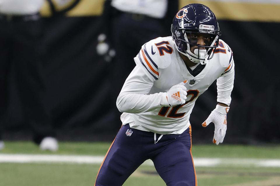 Chicago Bears wide receiver Allen Robinson (12) during an NFL wild-card playoff football game against the New Orleans Saints, Sunday, Jan. 10, 2021, in New Orleans. The Saints defeated the Bears 21-9. (AP Photo/Tyler Kaufman)