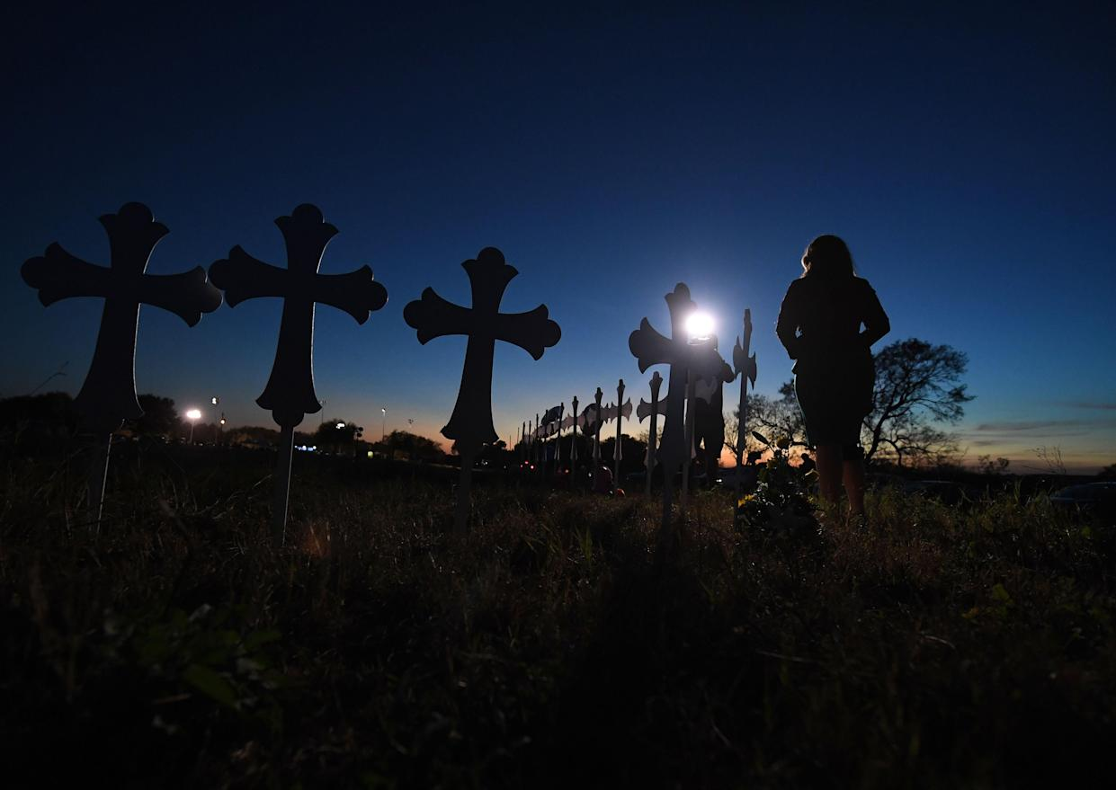 A television reporter on assignment in Sutherland Springs, Texas, Nov. 6, 2017. (Photo: Mark Ralston/AFP/Getty Images)