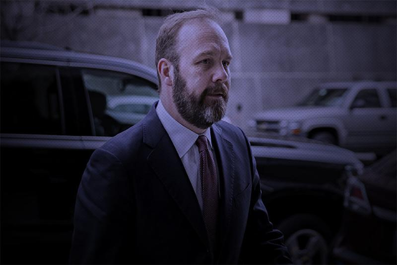 Rick Gates, the star witness in the case against Trump campaign manager Paul Manafort. (HuffPost Illustration/Getty Images)