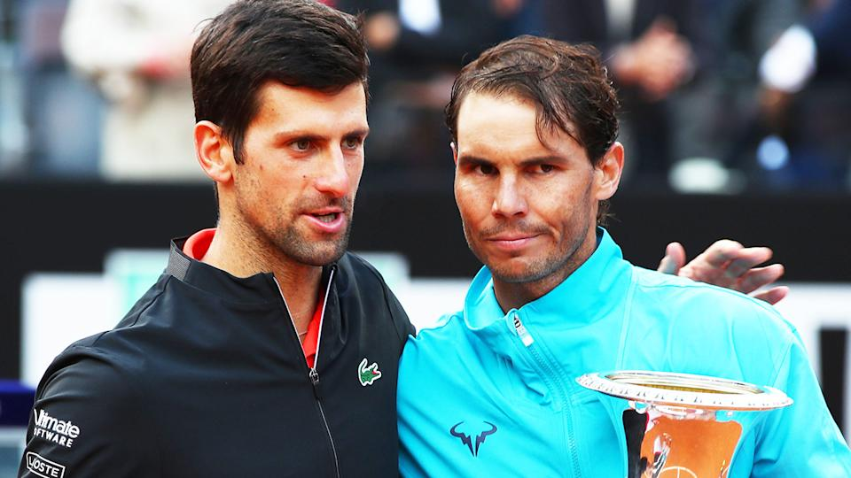Novak Djokovic and Rafael Nadal, pictured here at the Rome Open in 2019.