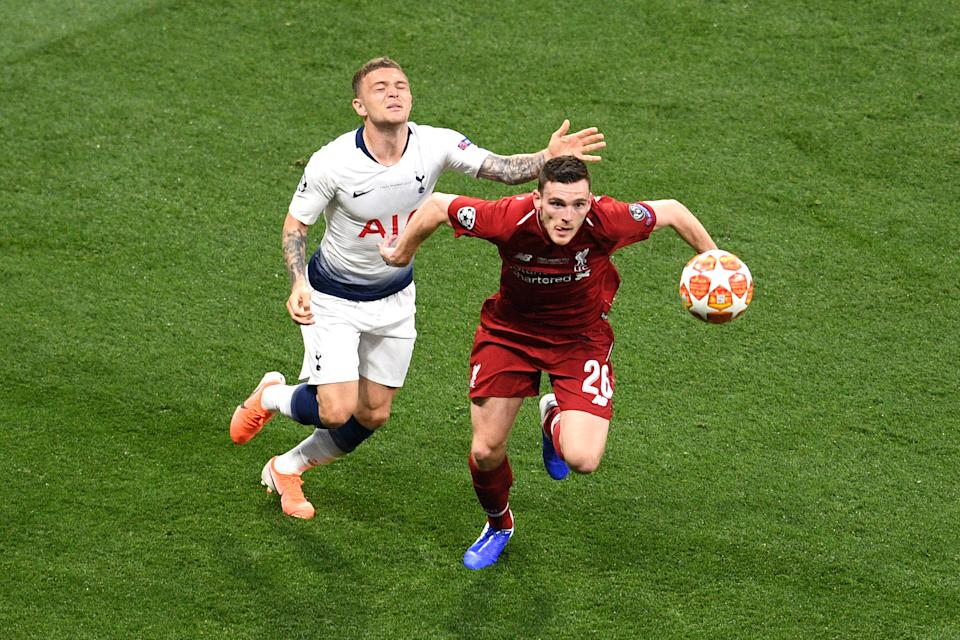 Andy Robertson clashes with Kieran Trippier (Photo by David Ramos/Getty Images)