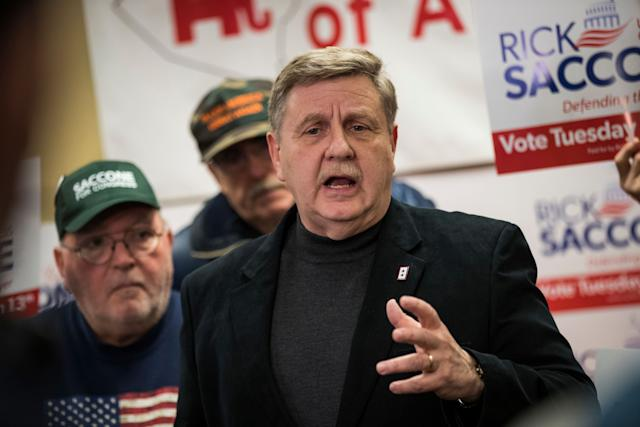 Republican Rick Saccone speaks to reporters at the Republican Committee of Allegheny County offices in Pittsburgh on March 9, 2018.