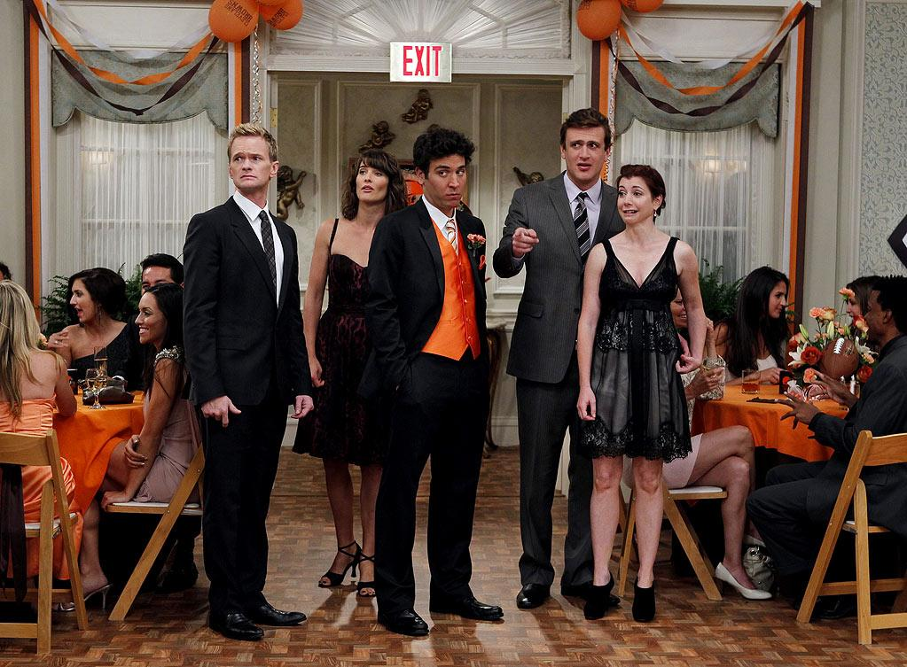 """The Best Man"" -- Barney (Neil Patrick Harris), Robin (Cobie Smulders), Ted (Josh Radnor),  Marshall (Jason Segel)  and Lily (Alyson Hannigan) stick together at a pals wedding,  on the seventh season premiere of HOW I MET YOUR MOTHER, Monday, Sept. 19 (8:00-8:30 PM, ET/PT) on the CBS Television Network.  Photo: Cliff Lipson/CBS ©2011 CBS Broadcasting Inc. All Rights Reserved. How I Met Your Mother"